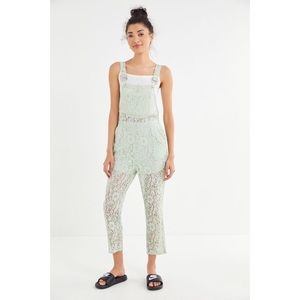 Urban Outfitters Dahlia Floral Lace Overall Green